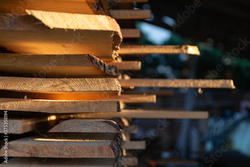 Foto Stack of cut wooden boards