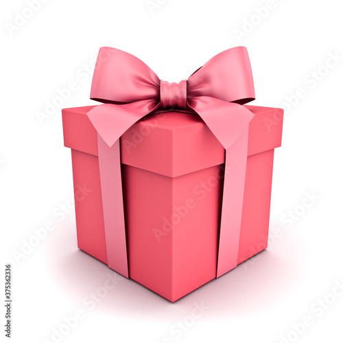 Gift box or pink pastel color present box with pink ribbon and bow isolated on white background with shadow 3D rendering © masterzphotofo