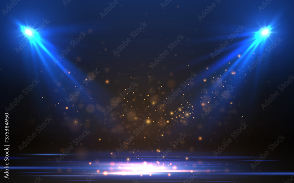 Fototapeta Blue spotlights with gold particles