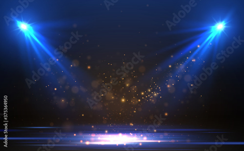 Fotografija Blue spotlights with gold particles