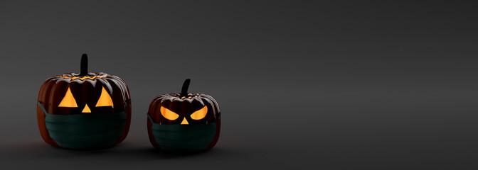 Pumpkin banner with surgical mask. Safe halloween. 3d illustration.