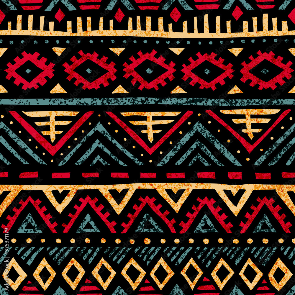 Fototapeta Seamless vintage pattern. Grungy texture. Ethnic and tribal motifs. Blue, yellow, red and purple colors. Vector illustration.