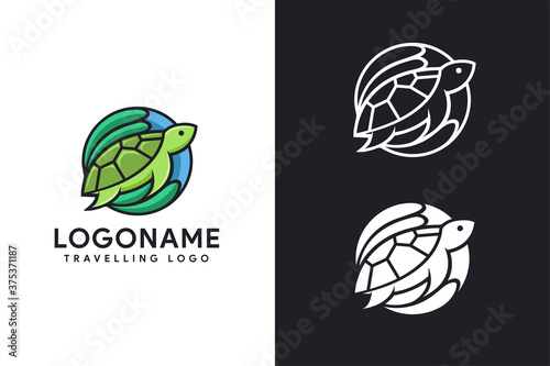 modern colorful Coral logo, turtle logo icon vector illustration template