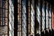 canvas print picture - Fenster Gemäuer Backstein Fabrik Ruine alt Lost Place Vintage Lichteinfall Schatten Loft Flair Wohnung Nostalgie Werkstatt Geschichte Verlassen  Gitter Streben Stimmung Hintergrund Wand Mauer Fugen