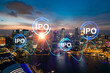 Hologram of IPO glowing icon, sunset panoramic city view of Singapore. The financial hub for transnational companies in Asia. The concept of boosting the growth by IPO process. Double exposure.