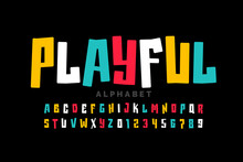 Playful Style Font Design, Childish Letters And Numbers