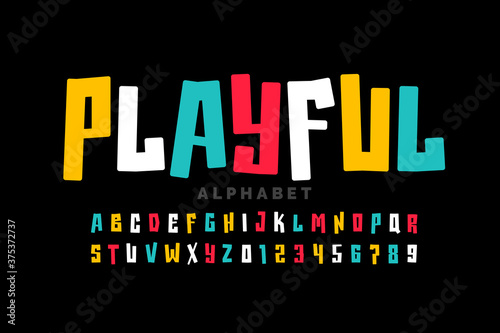 Stampa su Tela Playful style font design, childish letters and numbers