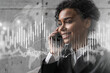 canvas print picture - Businesswoman speaks phone and stock market financial chart hologram. Double exposure. Online trading bonds, shares and currencies concept.
