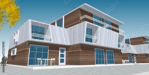 Foto modern house sketch 3d illustration