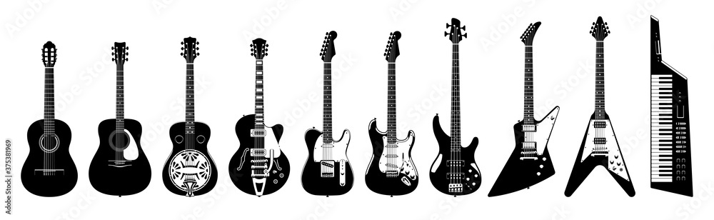 Fototapeta Guitar set. Acoustic & electric guitars on white background. Vector monochrome illustration. Musical Instruments.