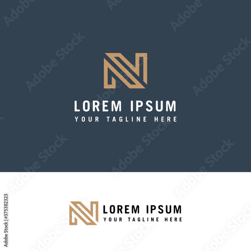Photographie Simple Letter N Initial logo design