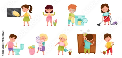 Tela Kid Characters Cleaning Room and Doing Household Chores Vector Illustration Set