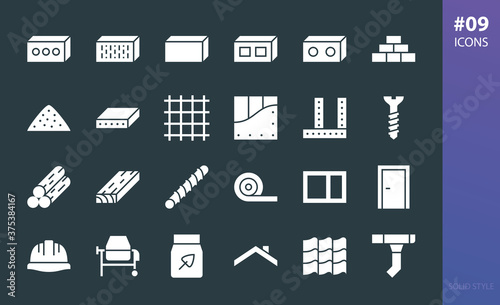 Carta da parati Construction materials solid icons set