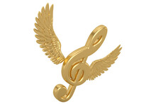 Gold Wings With Musical Note I...