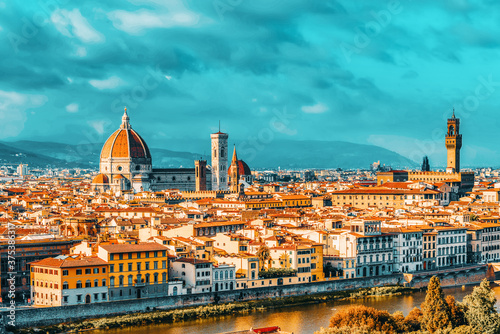 Fotografía Beautiful landscape above, panorama on historical view of the Florence from  Piazzale Michelangelo point