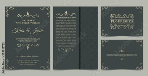 Fotografia collection Invitation card vector design vintage style