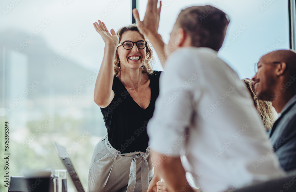 Fototapeta Businesswoman giving a high five to a colleague in meeting