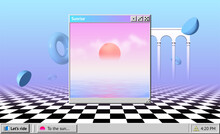 Vaporwave Abstract Background With OS Window With Sunrise And Interface, Surreal Shapes And Colonnade With Arches