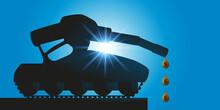 Concept Des Lobbies Pétroliers Et De La Guerre économique Mondiale Avec La Silhouette D'un Char D'assaut Dont Le Canon Est Un Pistolet De Pompe à Essence.