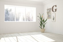 White Stylish Empty Room With ...