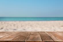 Wooden Surface On Sandy Beach ...