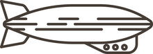 Vector Illustration Of A Monochrome Cartoon Blimp Dirigible