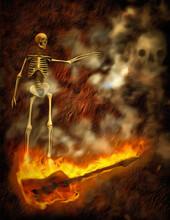 Skeleton On Burning Bass Guitar. 3D Rendering