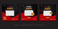 Burger Menu Promotion Social Media Banner Template. Red And Black Background Design.