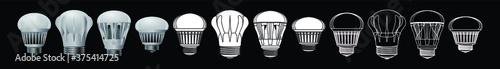 Fotografie, Obraz set of light bulb cartoon icon design template with various models
