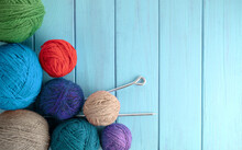 Balls Of Yarn In Different Col...
