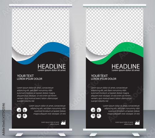 Fotomural Vertical Banner business roll up standee Modern Mockup Template