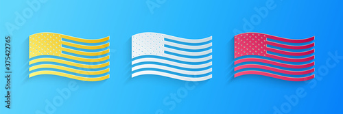 Fotografija Paper cut American flag icon isolated on blue background