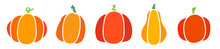 Set Of Colored Pumpkins Of Different Shapes Isolated On A White Background. Vector Illustration.