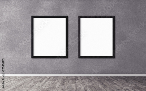 Two white posters with frame on wall Canvas Print