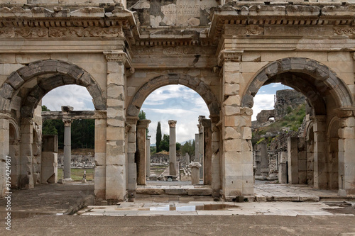 Wallpaper Mural Roman gate into the public agora in the ruins of Ephesus, Turkey.