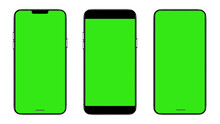 Smartphone Frameless Mockup. Studio Shot Of Green Screen Smartphone With Blank Screen For Infographic Global Business Web Site Design App, Content For Technology - Include Clipping Pat.