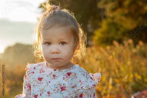Fényképezés Adorable little girl laughing in a meadow - happy girl.