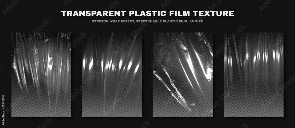 Fototapeta Transparent plastic film texture, stretchable polyethylene film, A4 size. Plastic stretch film effect with crumpled and wrinkled texture. Vector