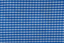 Close Up Shot Of Blue Checks Pattern On Fabric Background