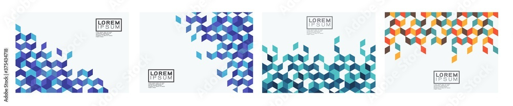 Fototapeta Set of template with colorful square pattern on corner position and white space. Modern geometric background for business or corporate presentation. Vector illustration