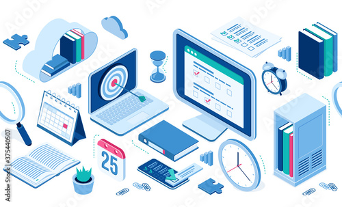 Obraz Isometric icons cloud with books, computer and smartphone, office supplies, alarm clock and table calendar, folder with files, clips. Infographics elements for web site design, 3d vector isolated set - fototapety do salonu