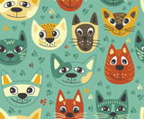 Fototapeta Pokój dzieciecy - Seamless pattern with cats. Background for fabric, textile, wallpaper, posters, gift wrapping paper, napkins, tablecloths, pajamas. Print for kids, baby, children