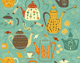 Fototapeta Pokój dzieciecy - Seamless pattern with teapot. Vector Background for fabric, textile, wallpaper, posters, gift wrapping paper, napkins, tablecloths. Print for kids, baby, children