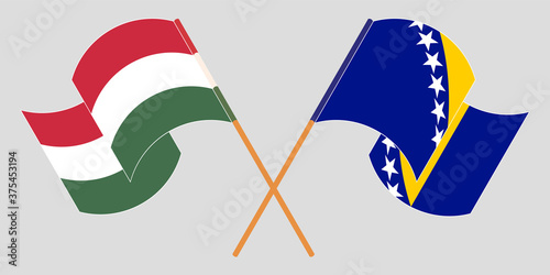 Fotografie, Obraz Crossed and waving flags of Hungary and Bosnia and Herzegovina