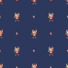 Seamless Pattern For Happy Chinese New Year 2021 - Funny Bulls. Vector Illustration. Great For Wrapping Paper, Textile, Wrapping Paper.