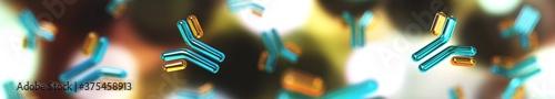 Antibodies - large globular proteins of blood plasma, immunoglobulins, medical b Fototapeta