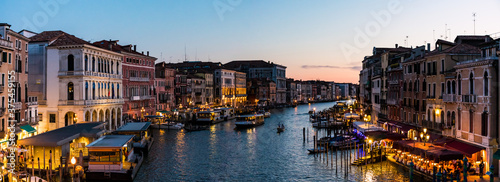 Panoramic view of Canal Grande in Venice, Italy by dusk