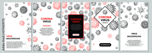 Obraz Pack of vertical virus design with hand drawn elements for banners, social media stories, cards, leaflets. Microscope virus close up. Vector illustration in sketch style. COVID-2019 - fototapety do salonu