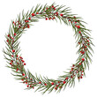 Christmas wreath with berries, pine branches,cones. Floral illustration for design, print, background. Eps 10