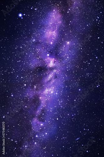 Obraz Night starry sky and Milky Way. Stars and nebula. Space background - fototapety do salonu